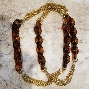 Jewelry - Long Brown and Gold Chunky Statement Necklace